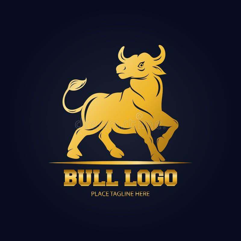 Plantilla de oro del diseño del icono del toro en fondo negro ilustración del vector