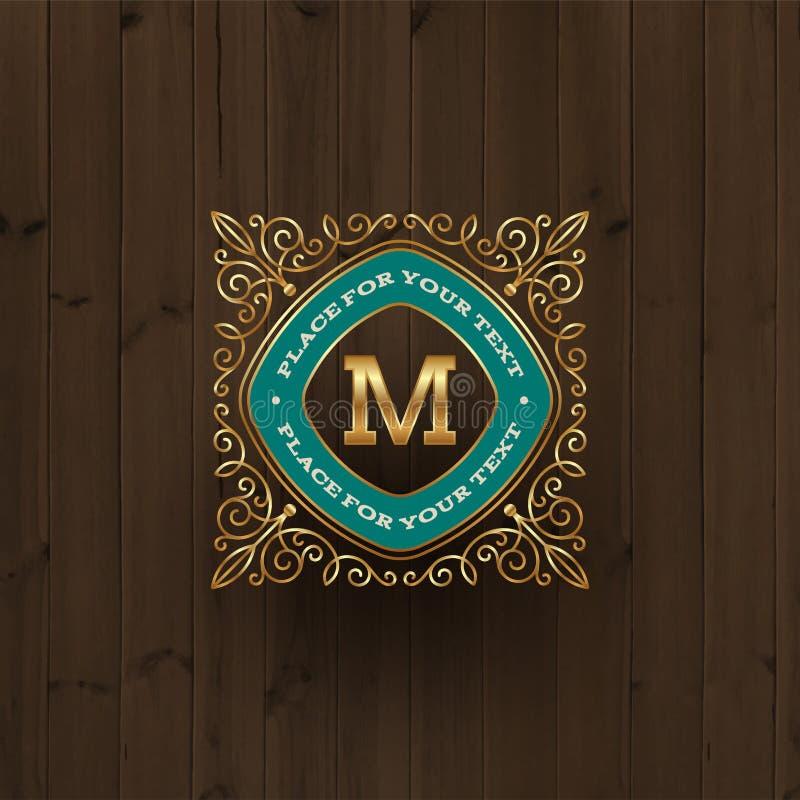 Plantilla de oro del logotipo del monograma stock de ilustración