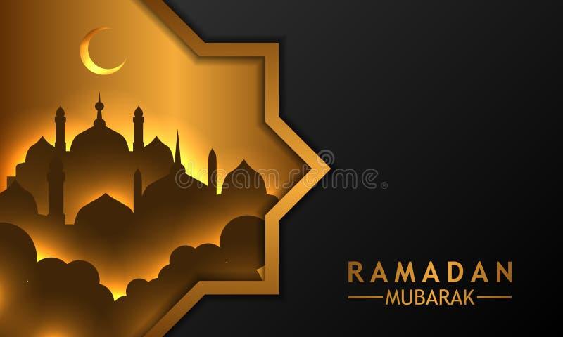 Plantilla de oro geométrica del fondo del negro de la bandera de las ventanas del marco con la mezquita de oro de la silueta ilustración del vector