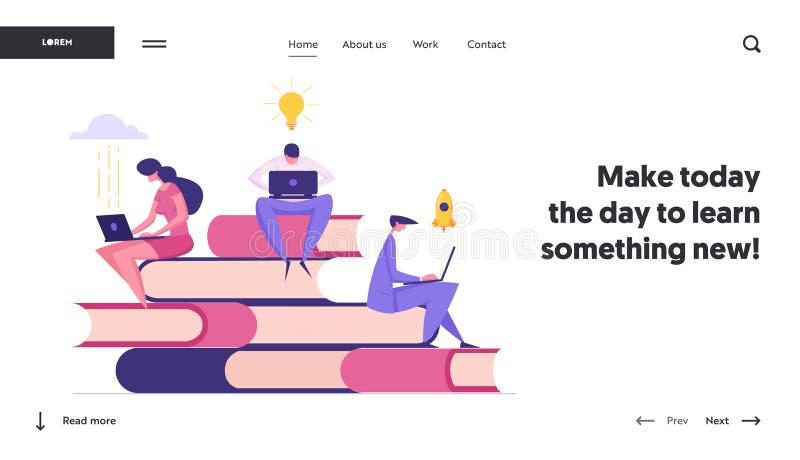 Plantilla de página de inicio de concepto de educación a distancia en línea Biblioteca de Internet con libros de lectura de perso ilustración del vector