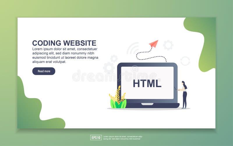 Plantilla de página de inicio del sitio web de codificación Concepto moderno de diseño plano del diseño de páginas web para sitio stock de ilustración