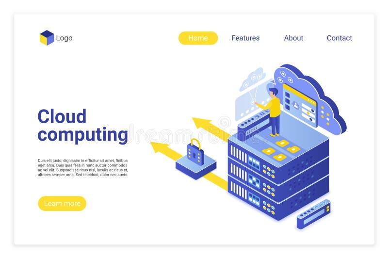 Plantilla de página de inicio isométrica vectorial de cloud computing ilustración del vector