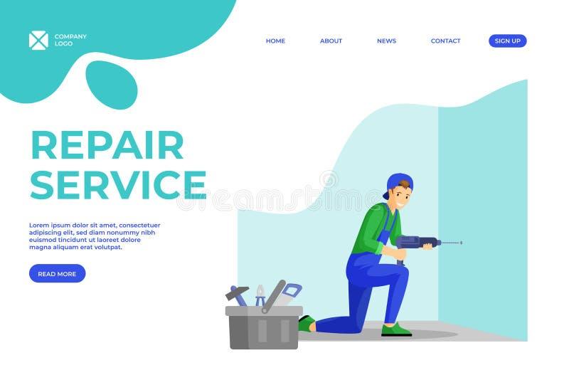 Plantilla de página de inicio plana de servicios Handyman Joven reparador haciendo hueco en la pared usando personaje de dibujos  libre illustration