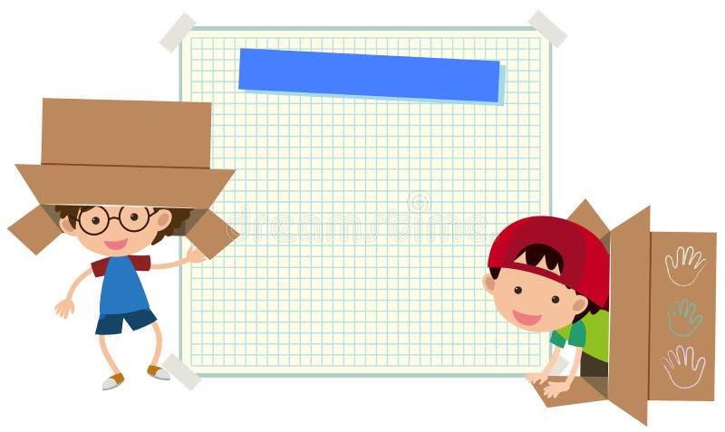 Plantilla de papel con dos muchachos en caja stock de ilustración