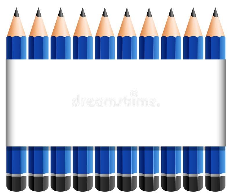 Plantilla de papel con los lápices agudos en azul ilustración del vector