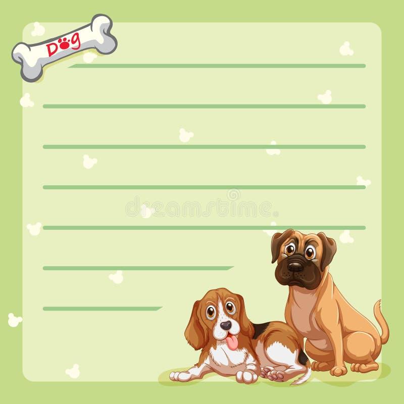Plantilla de papel con los perros lindos ilustración del vector