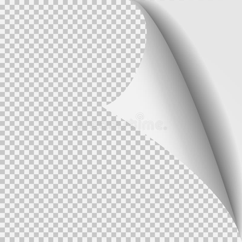 Plantilla de papel de la esquina del rizo Rejilla transparente Página aislada vacía del fondo ilustración del vector