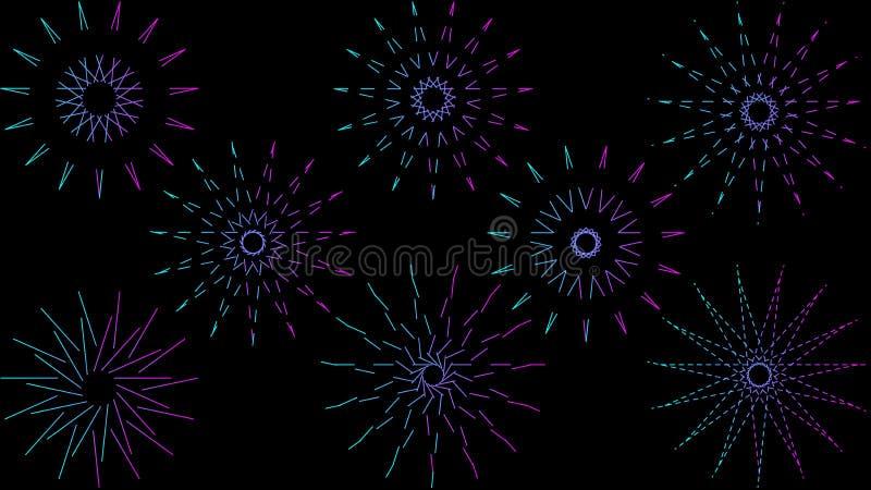 Plantilla de papel moderna del arte con el fondo geométrico de neón colorido de las formas en el fondo ligero para el diseño de l stock de ilustración