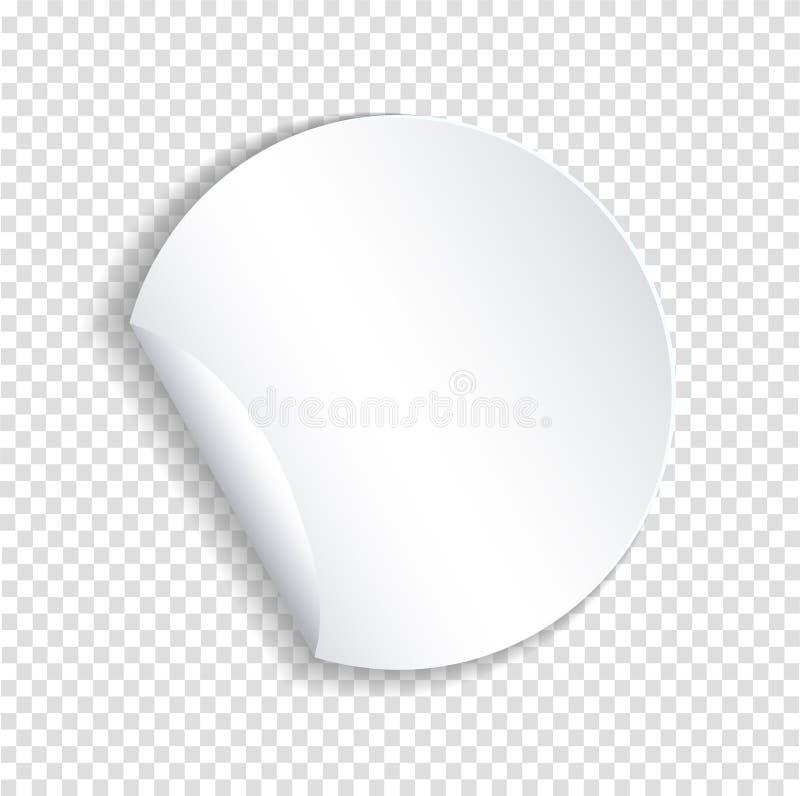 Plantilla de papel redonda de la etiqueta engomada con el borde doblado con sha translúcido ilustración del vector