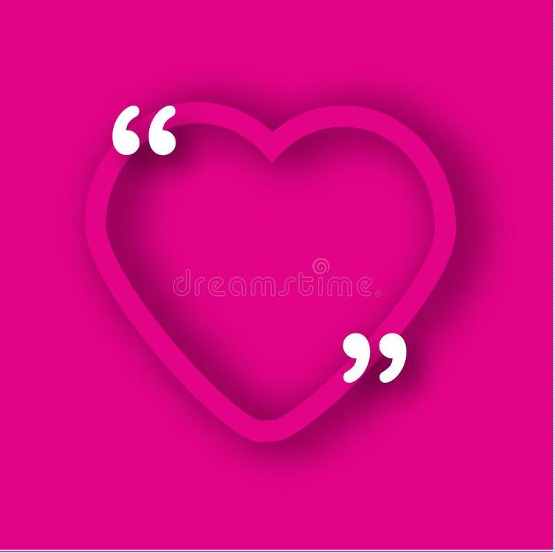 Plantilla de papel rosada del marco del corazón en estilo realista Forme con las comas para las citas y su texto Romántico, backg libre illustration
