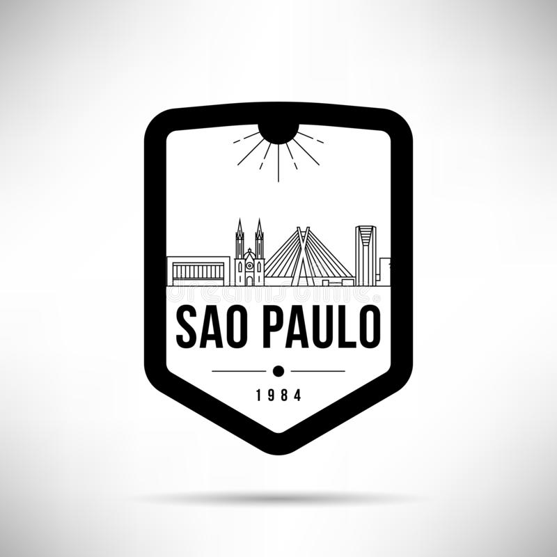 Plantilla de Paulo City Modern Skyline Vector del sao libre illustration