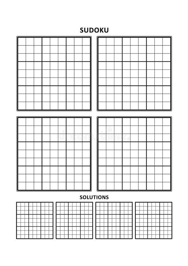 Plantilla de Sudoku, cuatro rejillas con las soluciones en A4 o página clasificada letra libre illustration
