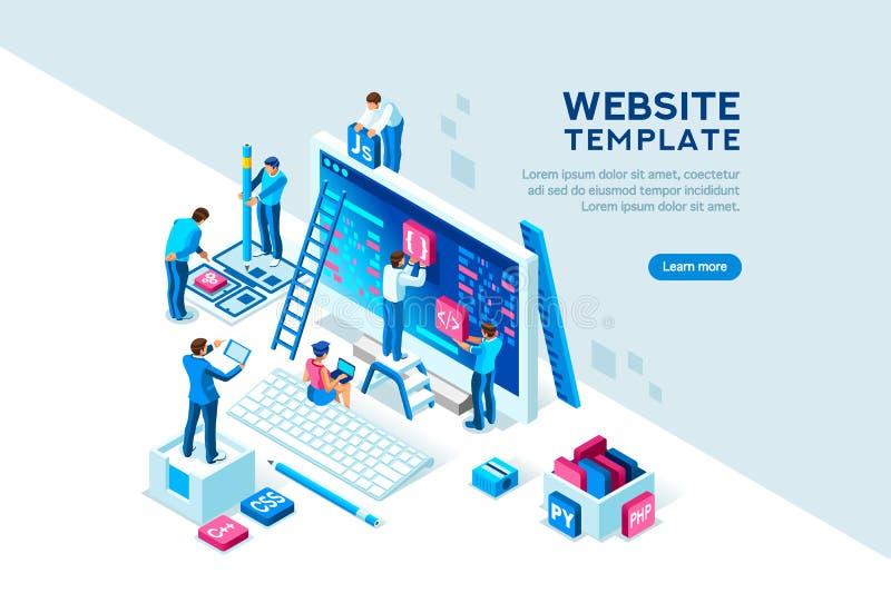 Plantilla de Team Office Engineers Characters Web del proyecto ilustración del vector