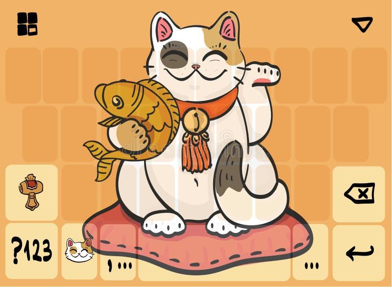 Plantilla de teclado móvil con el gato y los pescados libre illustration