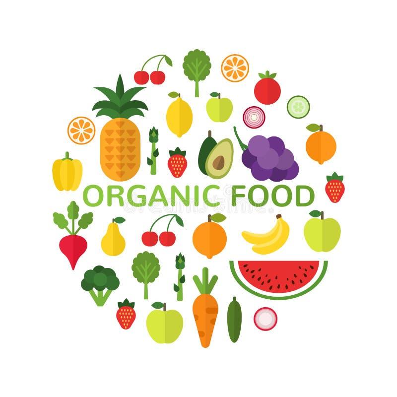 Plantilla del alimento biológico Concepto sano de la comida aislado en el fondo blanco Forma del círculo llenada de las frutas sa ilustración del vector