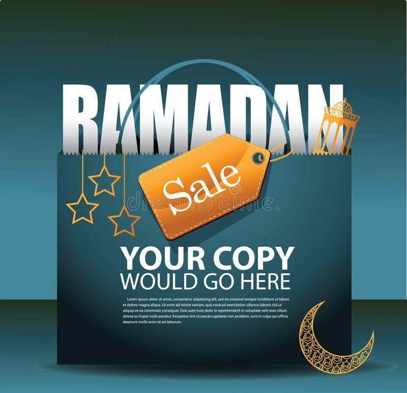 Plantilla del anuncio del fondo de la venta del Ramadán stock de ilustración