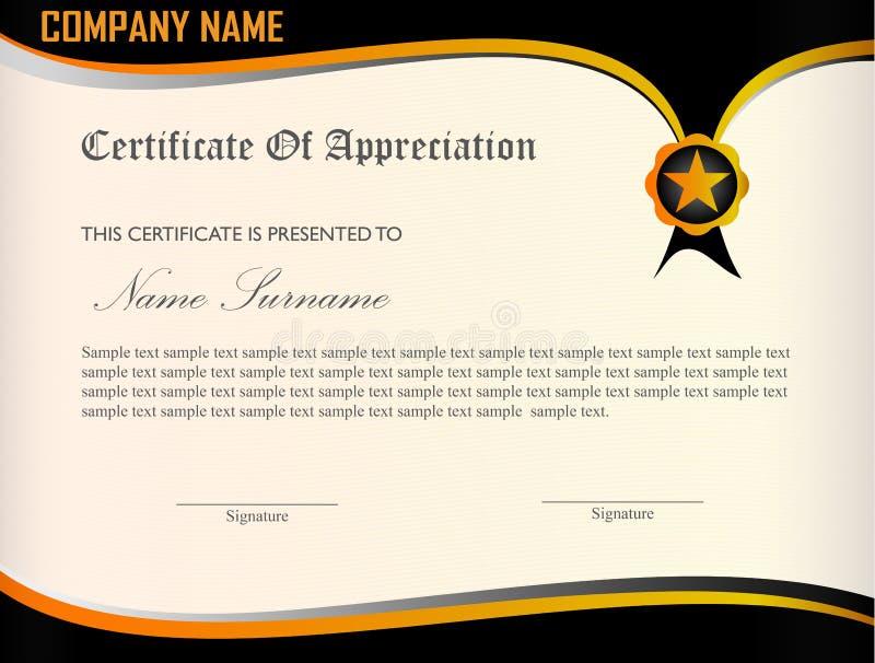 Plantilla del aprecio del certificado stock de ilustración