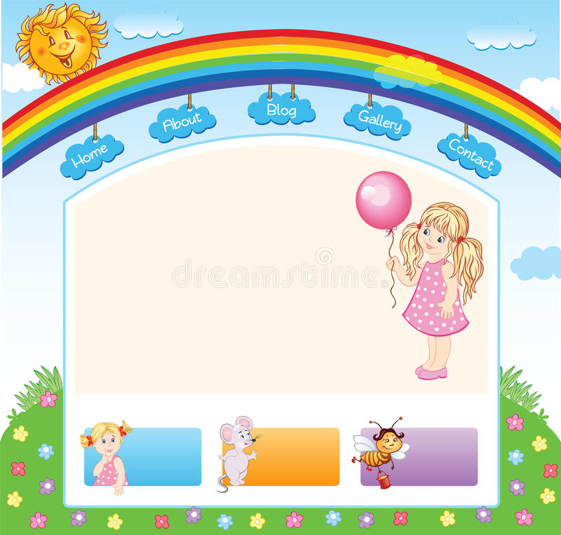 Plantilla del arco iris del niño de la historieta libre illustration