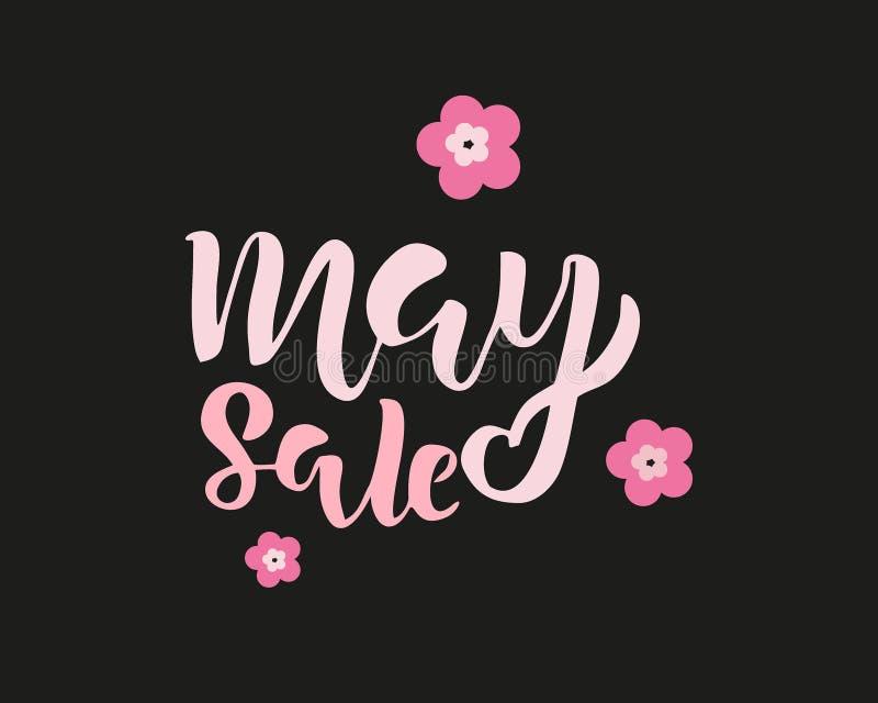 Plantilla del aviador de la venta de mayo con las letras manuscritas con las flores Cartel, tarjeta, etiqueta, dise?o de la bande ilustración del vector