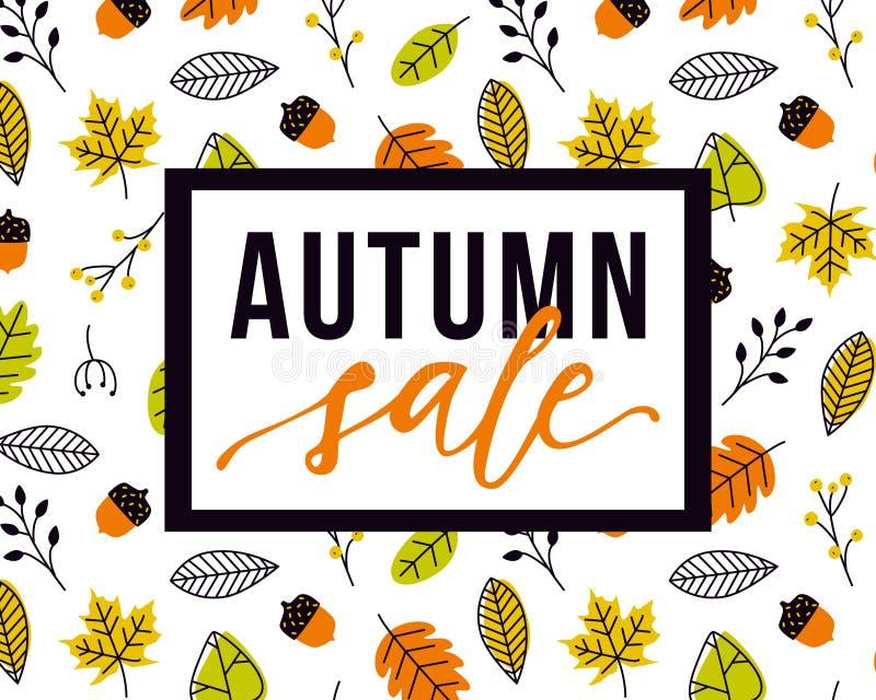 Plantilla del aviador de la venta del otoño del vector con las letras y el modelo con las hojas y las bellotas de la caída ilustración del vector