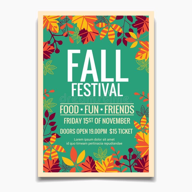 Plantilla del aviador o del cartel del festival de la ca?da Diseño para la invitación o Autumn Season Holiday Celebration Poster stock de ilustración