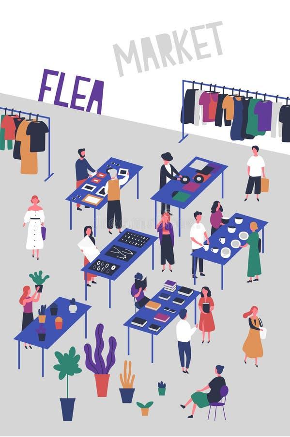 Plantilla del aviador o del cartel para la pulga o mercado de la moda, feria de trapo con los compradores y vendedores de los dis stock de ilustración