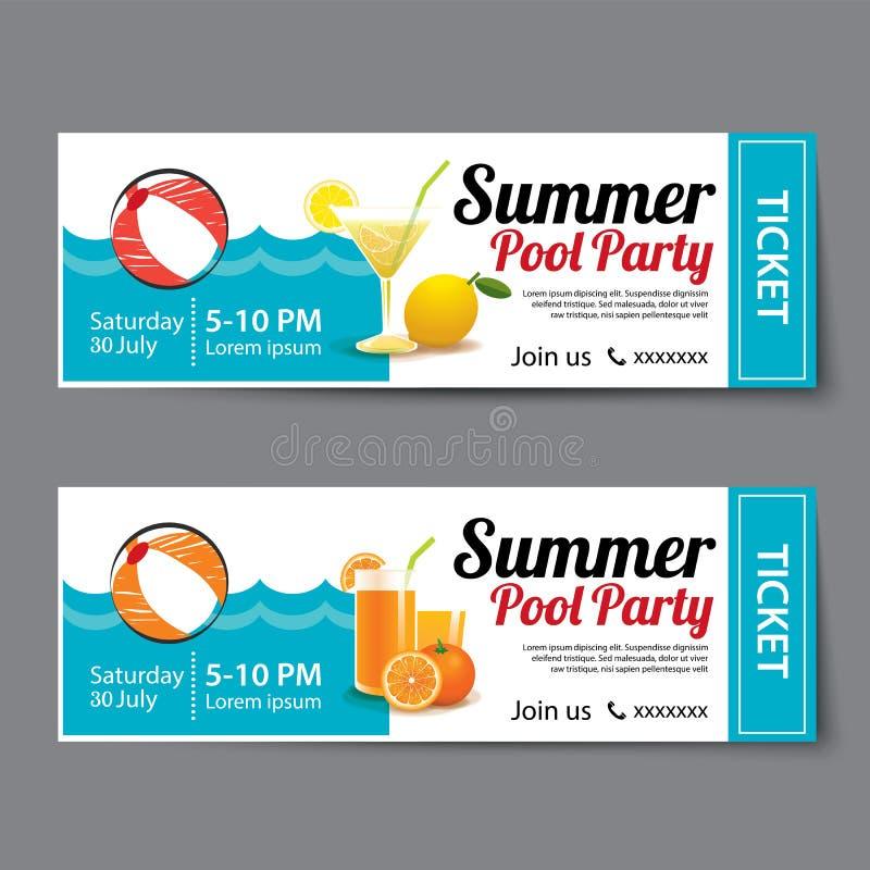Plantilla del boleto de la fiesta en la piscina del verano ilustración del vector
