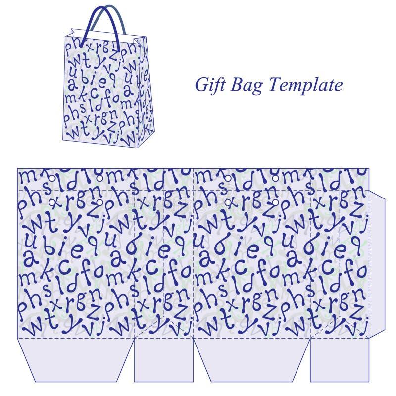 Plantilla del bolso con el modelo del alfabeto stock de ilustración