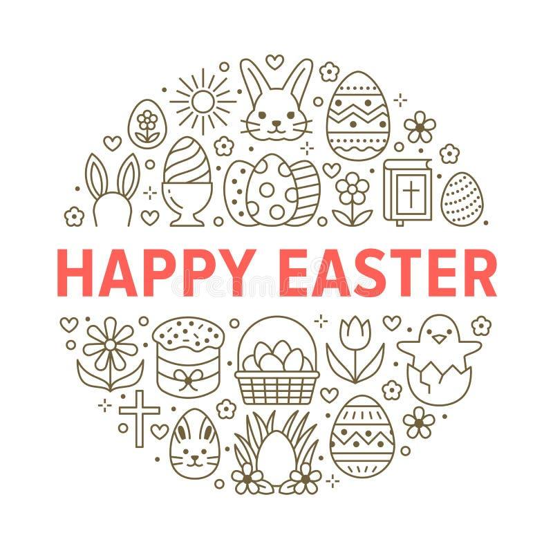 Plantilla del círculo de la tarjeta de pascua con la línea plana iconos Huevos coloreados, cesta, caza del huevo, conejo, flores  ilustración del vector