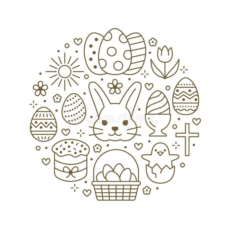Plantilla del círculo de la tarjeta de pascua con la línea plana iconos Huevos coloreados, cesta, caza del huevo, conejo, flores  stock de ilustración