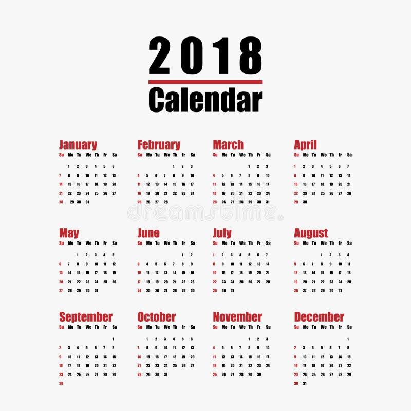 Plantilla Del Calendario Del Año Nuevo 2018 En Color Blanco Y Negro ...