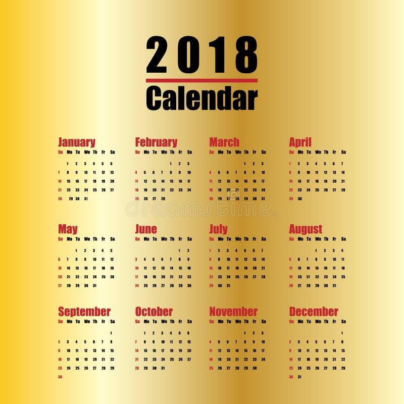 plantilla del calendario del Año Nuevo 2018 en negro rojo y color oro del estilo simple mínimo limpio de la tabla libre illustration