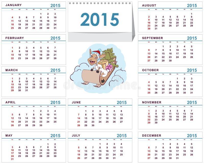 Plantilla 2015 Del Calendario De Escritorio Ilustración del Vector ...