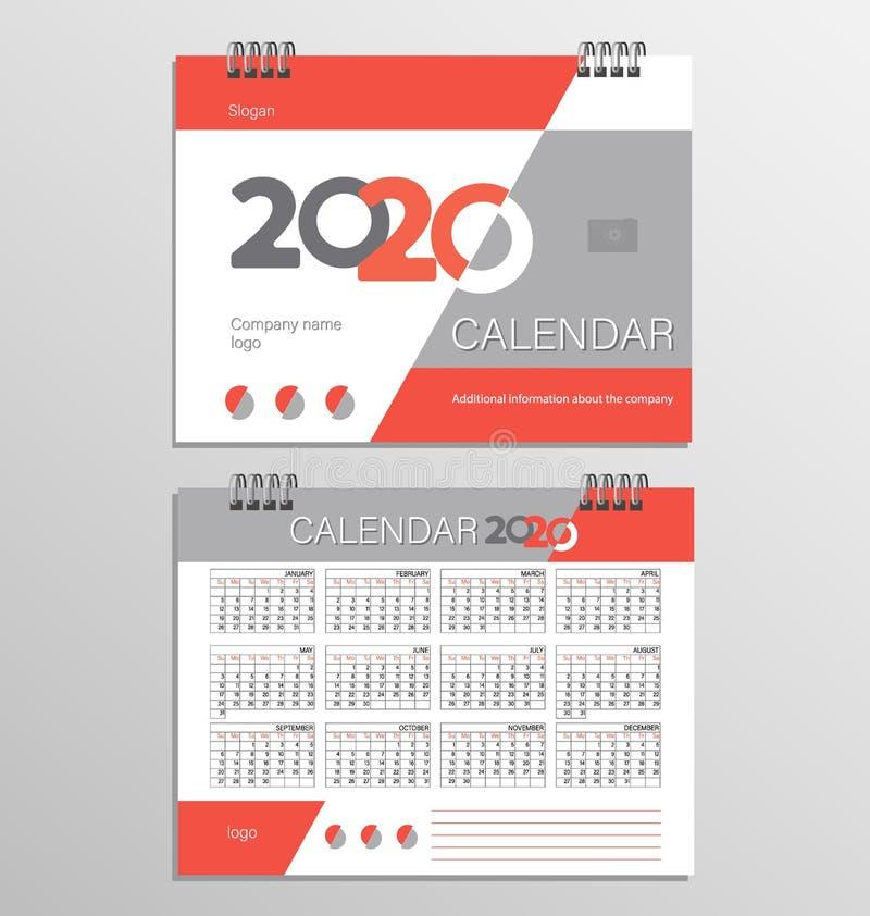 Plantilla del calendario de escritorio por 2020 años stock de ilustración