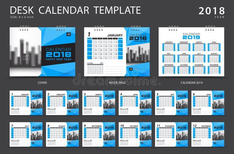 Plantilla 2018 del calendario de escritorio Sistema de 12 meses ilustración del vector