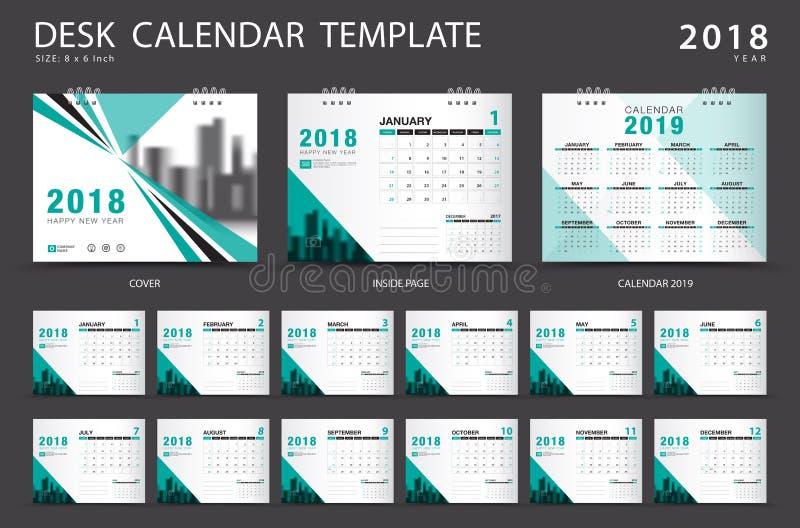 Plantilla 2018 del calendario de escritorio Sistema de 12 meses planificador Cubierta verde stock de ilustración