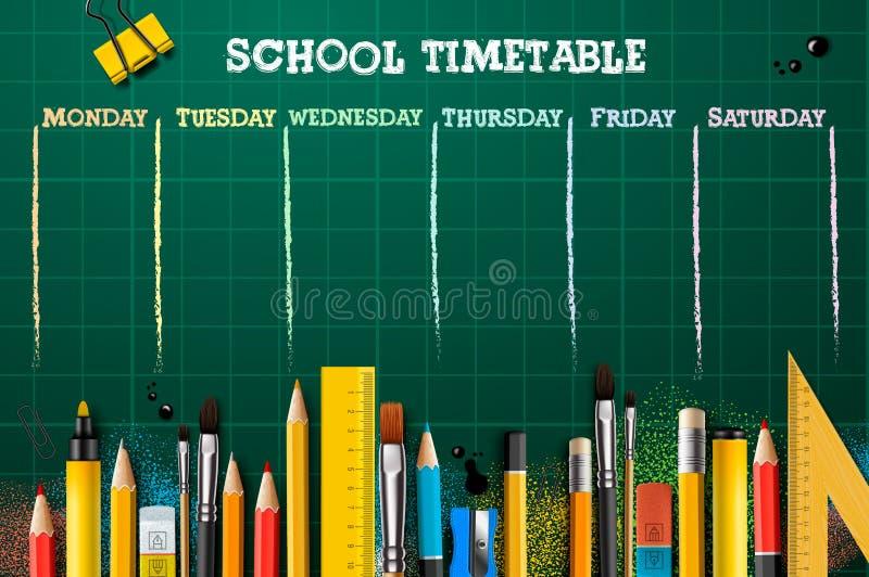 Plantilla del calendario de la escuela para los estudiantes o los alumnos Ilustraci?n del vector foto de archivo libre de regalías