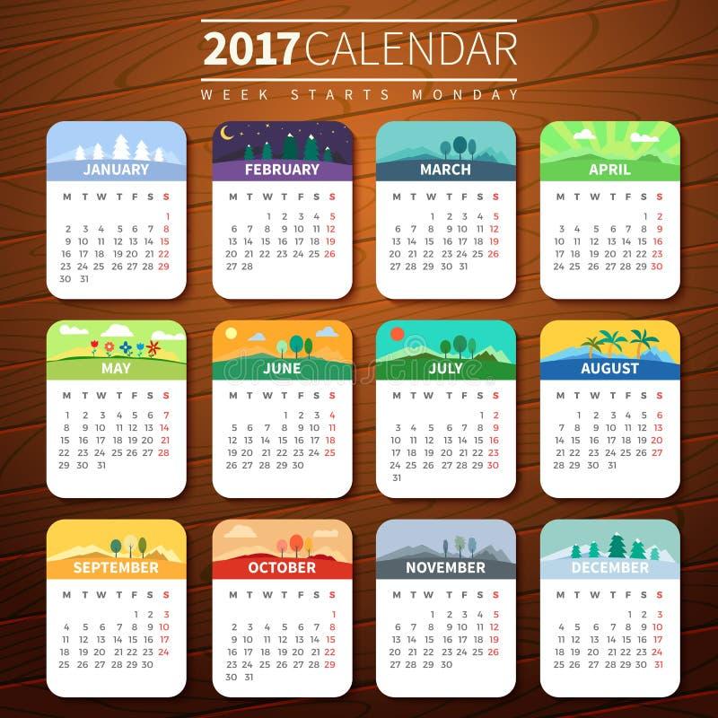 Plantilla del calendario para 2017 imágenes de archivo libres de regalías