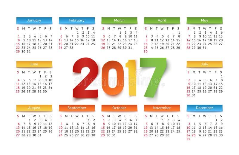 Plantilla Del Calendario Por Un Año 2017 Ilustración del Vector ...