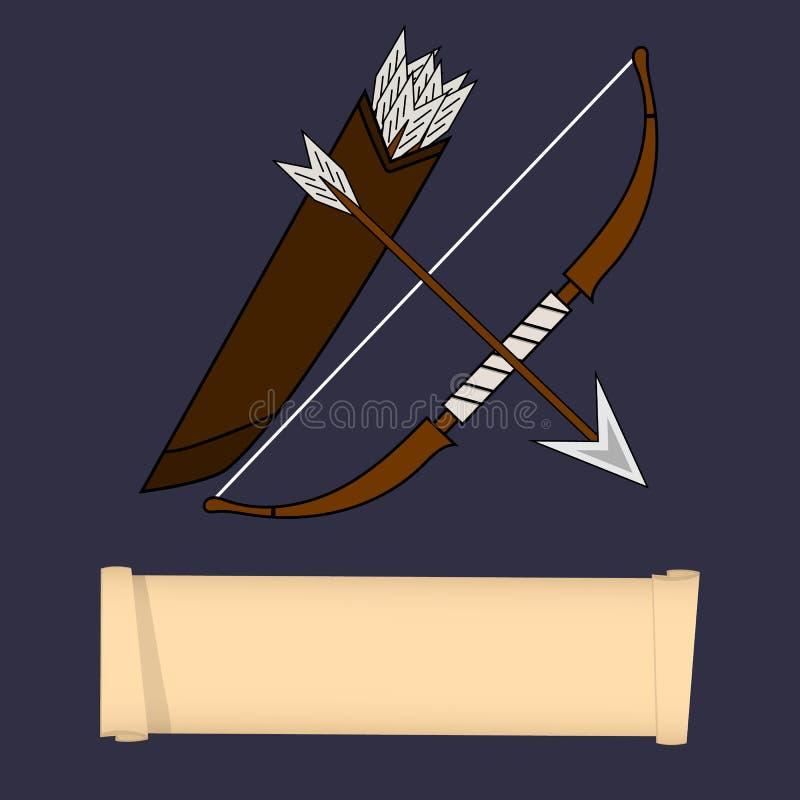 Plantilla del carácter del juego, clase Guardabosques, explorador, Ninja Class Cualidades del guardabosques, explorador, aislado  stock de ilustración
