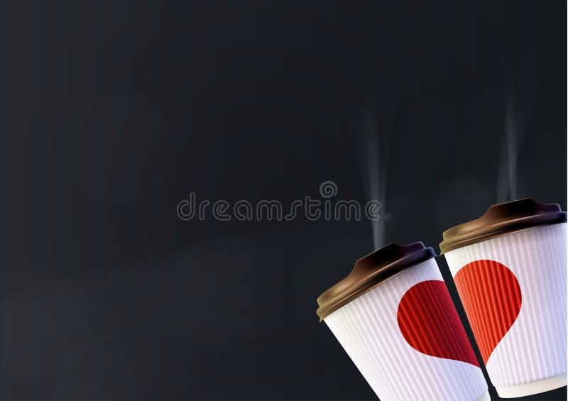 Plantilla del cartel del amor del café Tazas blancas de la ondulación con un corazón rojo en un fondo negro stock de ilustración