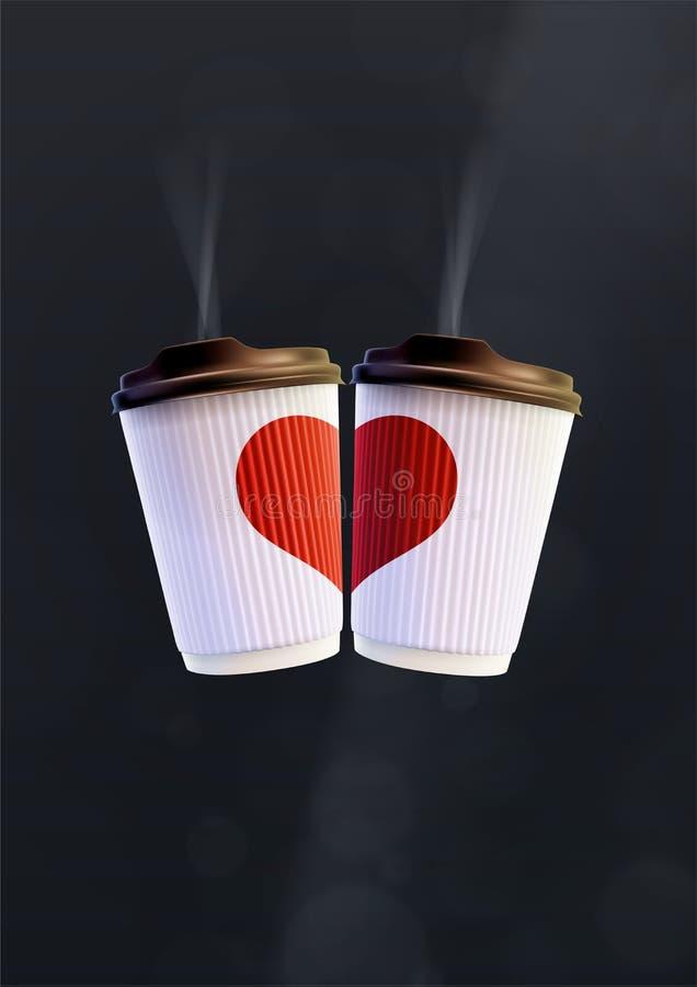 Plantilla del cartel del amor del café Tazas blancas de la ondulación con un corazón rojo en un fondo negro libre illustration