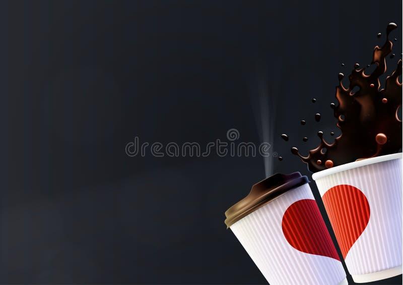 Plantilla del cartel del amor del café Tazas blancas de la ondulación con un corazón y un chapoteo rojos en un fondo negro stock de ilustración