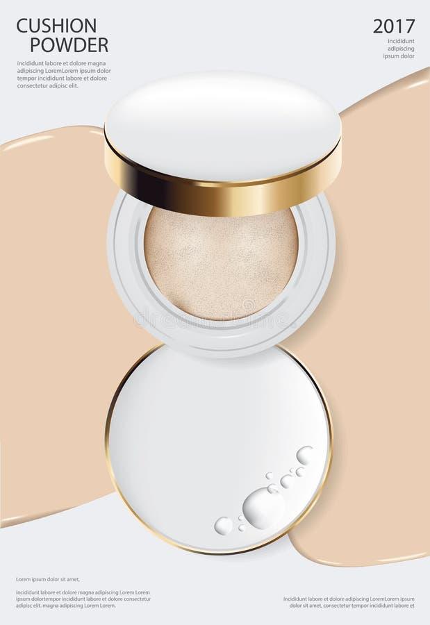 Plantilla del cartel del amortiguador del polvo del maquillaje ilustración del vector