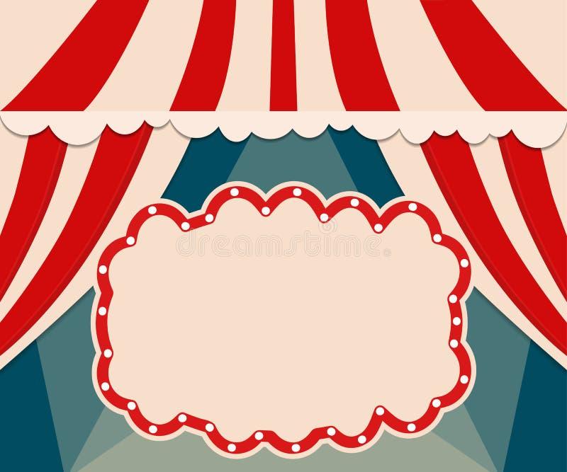 Plantilla del cartel con la bandera retra del circo Diseño para el presentatio libre illustration