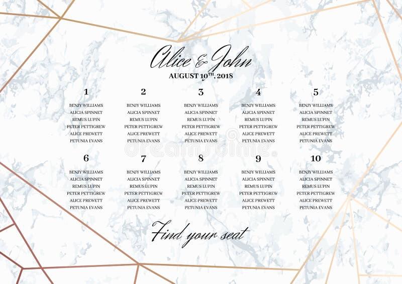 Plantilla del cartel de la carta del asiento de la boda stock de ilustración