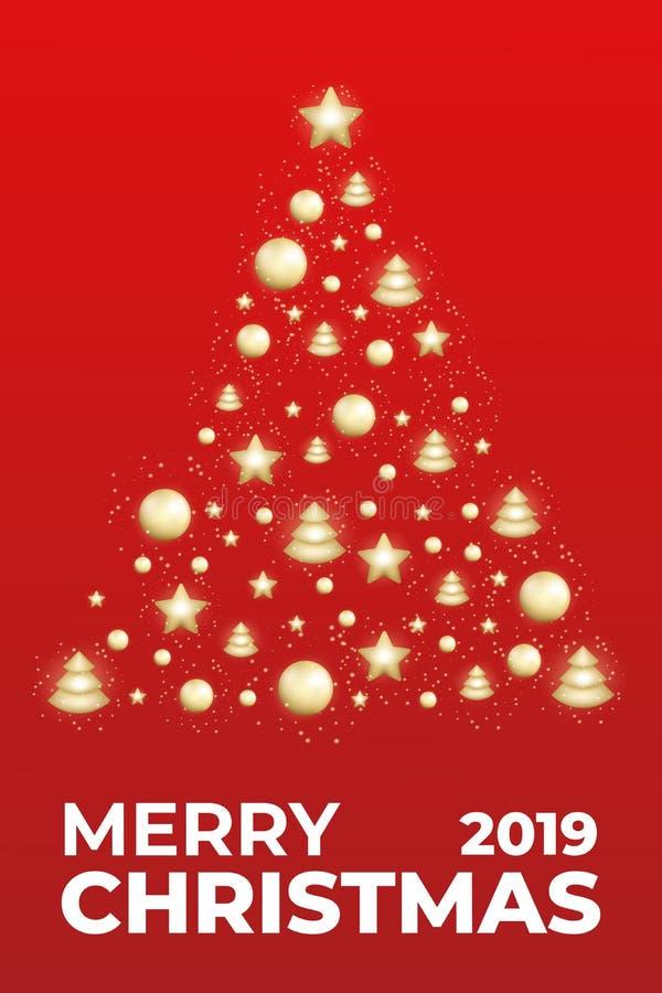 Plantilla del cartel de la Feliz Navidad Diseño de las vacaciones de invierno con el árbol brillante de Navidad Tarjeta de Navida ilustración del vector