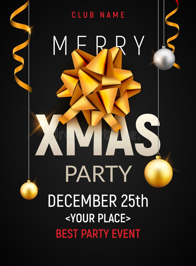 Plantilla del cartel de la fiesta de Navidad Bolas de la plata del oro de la Navidad y bandera de oro de la invitación de la deco stock de ilustración