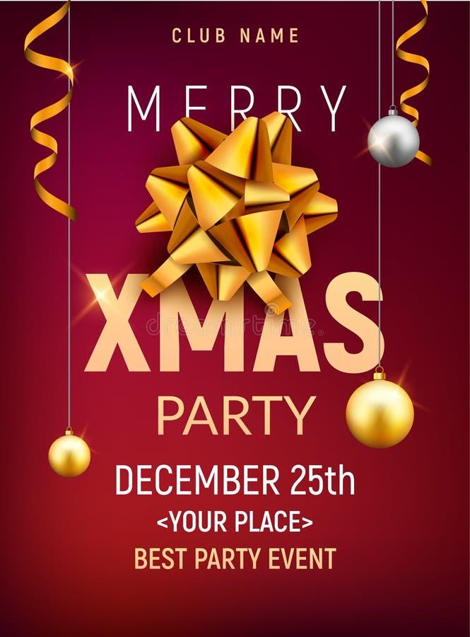 Plantilla del cartel de la fiesta de Navidad Bolas de la plata del oro de la Navidad y bandera de oro de la invitación de la deco ilustración del vector