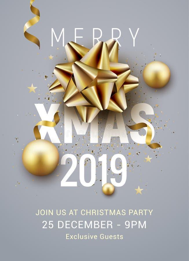 Plantilla 2019 del cartel de la fiesta de Navidad Bolas de plata del oro de la Navidad y bandera de oro de la invitación de la de stock de ilustración